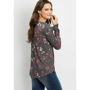Maurices 24/7 Floral Long Flutter Sleeve Tee Top